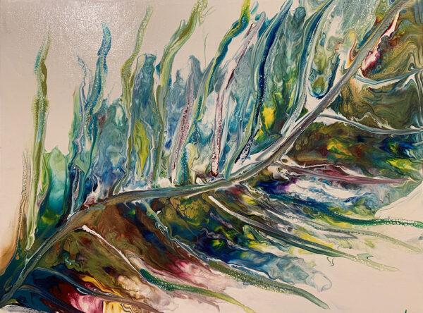Fall Leaf - Fluid Art Acrylic Painting on canvas