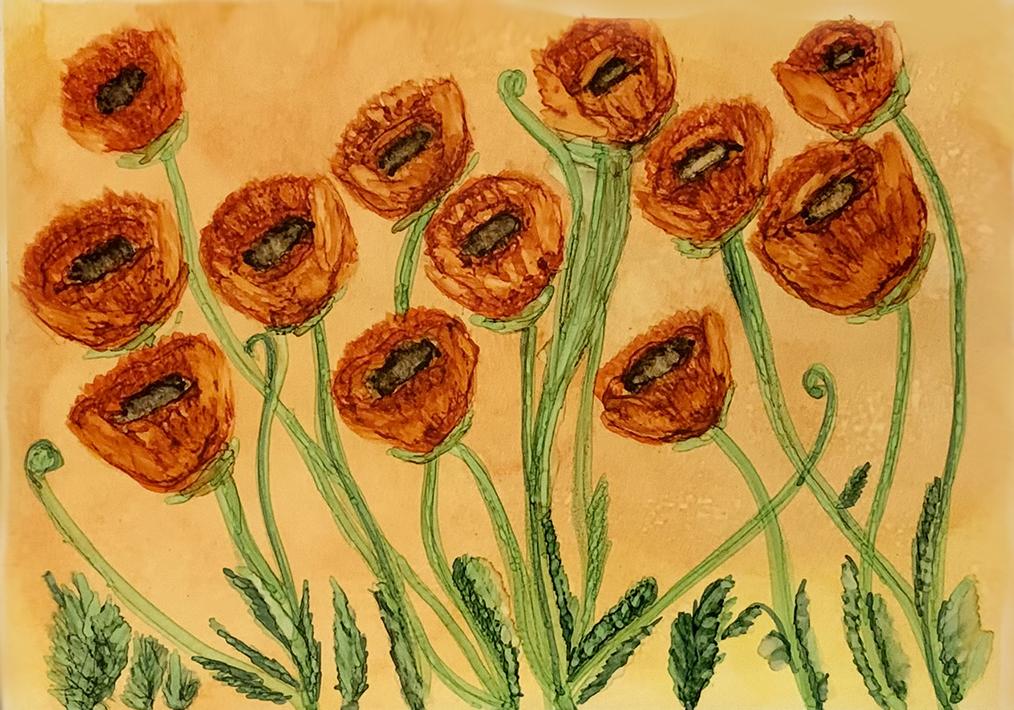 Poppy Field – Original Alcohol Inks Painting
